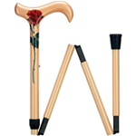 Ladie's Red Rose Folding Cane - Ladie's Carbon Fiber derby cane with red rose on golden colored